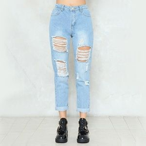 Nasty Gal Distressed High Waist Taper Jeans NWT